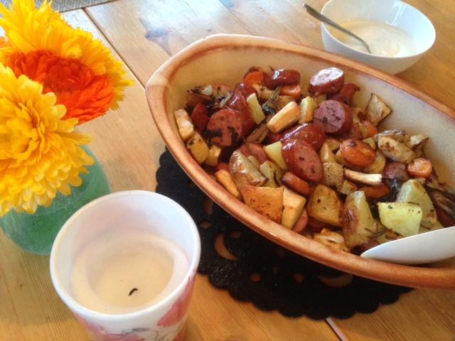 Salsiccia med blandade rotsaker
